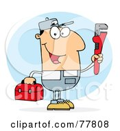 Royalty Free RF Clipart Illustration Of A Caucasian Plumber Man Carrying A Red Wrench And Tool Box by Hit Toon