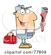 Royalty Free RF Clipart Illustration Of A Friendly Caucasian Plumber Man Carrying A Wrench And Tool Box by Hit Toon