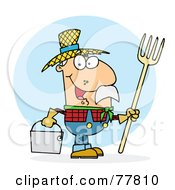 Royalty Free RF Clipart Illustration Of A Male Caucasian Farmer Carrying A Rake And Pail