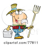 Happy Caucasian Farmer Man Carrying A Rake And Pail by Hit Toon