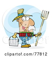 Royalty Free RF Clipart Illustration Of A Male Hispanic Farmer Carrying A Rake And Pail