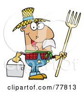 Royalty Free RF Clipart Illustration Of A Happy Hispanic Farmer Man Carrying A Rake And Pail by Hit Toon