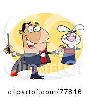 Royalty Free RF Clipart Illustration Of A Grouchy Bunny In A Hispanic Magicians Hat by Hit Toon