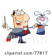 Royalty Free RF Clipart Illustration Of A Grumpy Bunny In A Caucasian Magicians Hat by Hit Toon