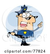 Royalty Free RF Clip Art Illustration Of A Caucasian Police Officer Man Holding A Club And Yelling by Hit Toon
