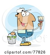 Royalty Free RF Clipart Illustration Of A Hispanic House Painter Man Holding A Pail And Paintbrush