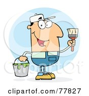 Royalty Free RF Clipart Illustration Of A Caucasian House Painter Man Holding A Pail And Paintbrush by Hit Toon