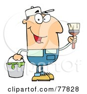 Royalty Free RF Clipart Illustration Of A Male Caucasian House Painter Holding A Pail And Paintbrush