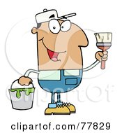 Royalty Free RF Clipart Illustration Of A Male Hispanic House Painter Holding A Pail And Paintbrush by Hit Toon