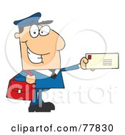 Royalty Free RF Clipart Illustration Of A Friendly Caucasian Mail Man Holding A Letter