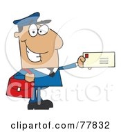 Royalty Free RF Clipart Illustration Of A Friendly Hispanic Mail Man Holding A Letter