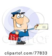Royalty Free RF Clipart Illustration Of A Caucasian Postal Worker Mail Man Holding A Letter
