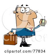 Royalty Free RF Clipart Illustration Of A Friendly Hispanic Businessman Holding A Briefcase And Cell Phone by Hit Toon