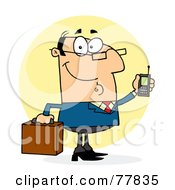 Royalty Free RF Clipart Illustration Of A Chatty Caucasian Businessman Holding A Briefcase And Cell Phone by Hit Toon