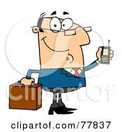 Royalty Free RF Clipart Illustration Of A Friendly Caucasian Businessman Holding A Briefcase And Cell Phone