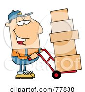 Royalty Free RF Clipart Illustration Of A Friendly Caucasian Delivery Man Using A Dolly To Move Boxes