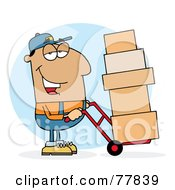 Royalty Free RF Clipart Illustration Of A Hispanic Delivery Guy Using A Dolly To Move Boxes