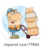 Royalty Free RF Clipart Illustration Of A Caucasian Delivery Guy Using A Dolly To Move Boxes by Hit Toon