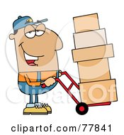 Royalty Free RF Clipart Illustration Of A Friendly Hispanic Delivery Man Using A Dolly To Move Boxes