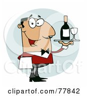 Royalty Free RF Clipart Illustration Of A Hispanic Male Waiter Serving Wine by Hit Toon