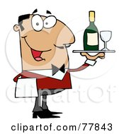 Royalty Free RF Clipart Illustration Of A Friendly Hispanic Male Butler Serving Wine