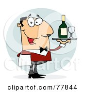 Royalty Free RF Clipart Illustration Of A Caucasian Male Waiter Serving Wine by Hit Toon