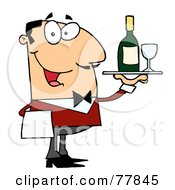 Royalty Free RF Clipart Illustration Of A Friendly Caucasian Male Butler Serving Wine