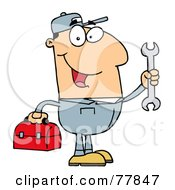 Royalty Free RF Clipart Illustration Of A Happy Caucasian Mechanic Man With A Tool Box And Wrench by Hit Toon #COLLC77847-0037