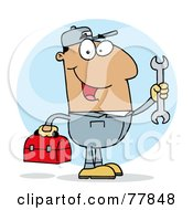 Royalty Free RF Clipart Illustration Of A Happy Hispanic Mechanic Guy With A Tool Box And Wrench by Hit Toon