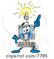 Desktop Computer Mascot Cartoon Character With A Bright Idea