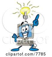 Desktop Computer Mascot Cartoon Character With A Bright Idea
