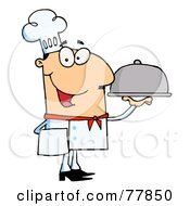 Friendly Caucasian Male Chef Serving Food In A Sliver Platter by Hit Toon