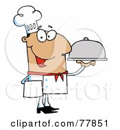 Royalty Free RF Clipart Illustration Of A Friendly Hispanic Male Chef Serving Food In A Sliver Platter