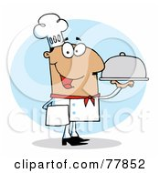 Royalty Free RF Clipart Illustration Of A Friendly Hispanic Chef Guy Serving Food In A Sliver Platter
