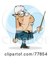 Royalty Free RF Clipart Illustration Of A Senior Hispanic Professor Man Holding A Pointer