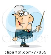 Royalty Free RF Clipart Illustration Of A Senior Caucasian Professor Man Holding A Pointer
