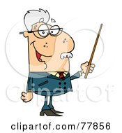 Royalty Free RF Clipart Illustration Of A Male Senior Caucasian Professor Holding A Pointer by Hit Toon