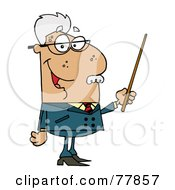 Royalty Free RF Clipart Illustration Of A Male Senior Hispanic Professor Holding A Pointer