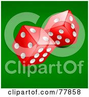 Royalty Free RF Clipart Illustration Of Two Rolling Red And White Casino Dice On Green by Oligo