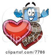 Desktop Computer Mascot Cartoon Character With An Open Box Of Valentines Day Chocolate Candies