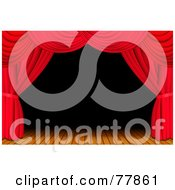Royalty Free RF Clipart Illustration Of A Dark And Deserted Wooden Stage Framed With Red Theatre Curtains by Oligo #COLLC77861-0124