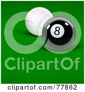 Royalty Free RF Clipart Illustration Of A White Cue Ball Behind An Eight Ball On A Billiards Table
