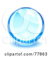 Royalty Free RF Clipart Illustration Of A Shiny Glass Or Crystal Blue Ball