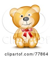 Friendly Happy Teddy Bear Wearing A Red Bow