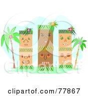 Royalty Free RF Clipart Illustration Of Three Tribal Tikis With Palm Trees by bpearth