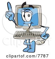 Desktop Computer Mascot Cartoon Character Pointing Upwards