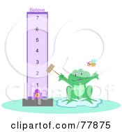 Frog With A Believe Meter And Bee