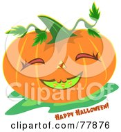 Happy Halloween Pumpkin With A Smiley Face And Greeting