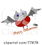 Dressed Up Vampire Bat With Happy Halloween Text