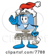 Desktop Computer Mascot Cartoon Character Wearing A Santa Hat And Waving